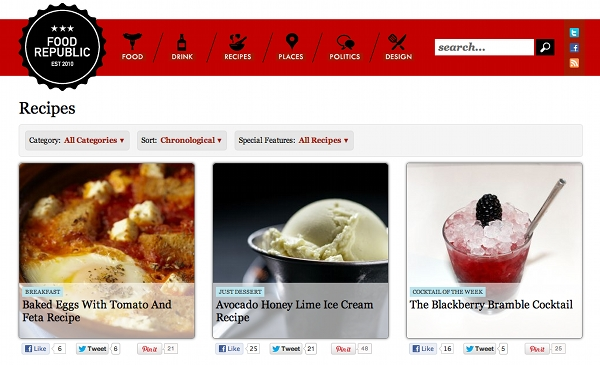 Food Republic's Recipe Section
